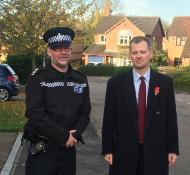 Neil O'Brien conducting a patrol of the Oadby area with the head of the local police, Inspector Mike Cawley.